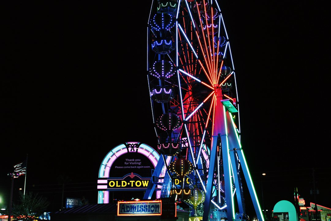 Old Town Ferris Wheel at night in Kissimmee, Florida