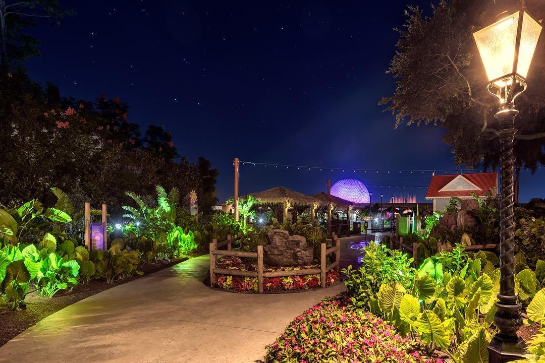 Epcot International Flower & Garden Festival gardens at night