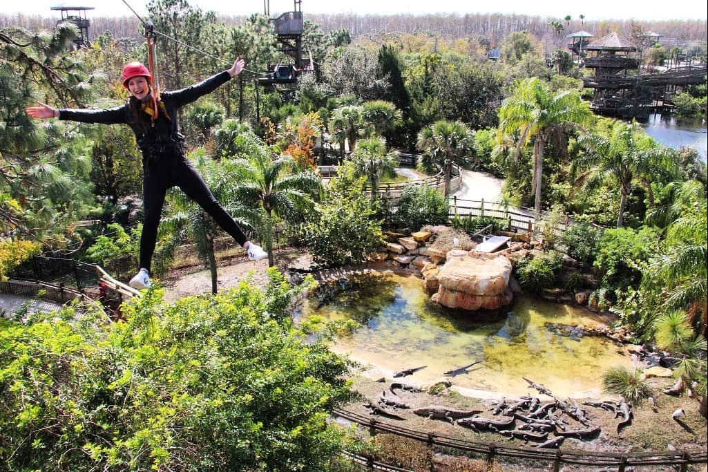 A vacationer zips over alligators on the Screamin' Gator Zip Line at Gatorworld