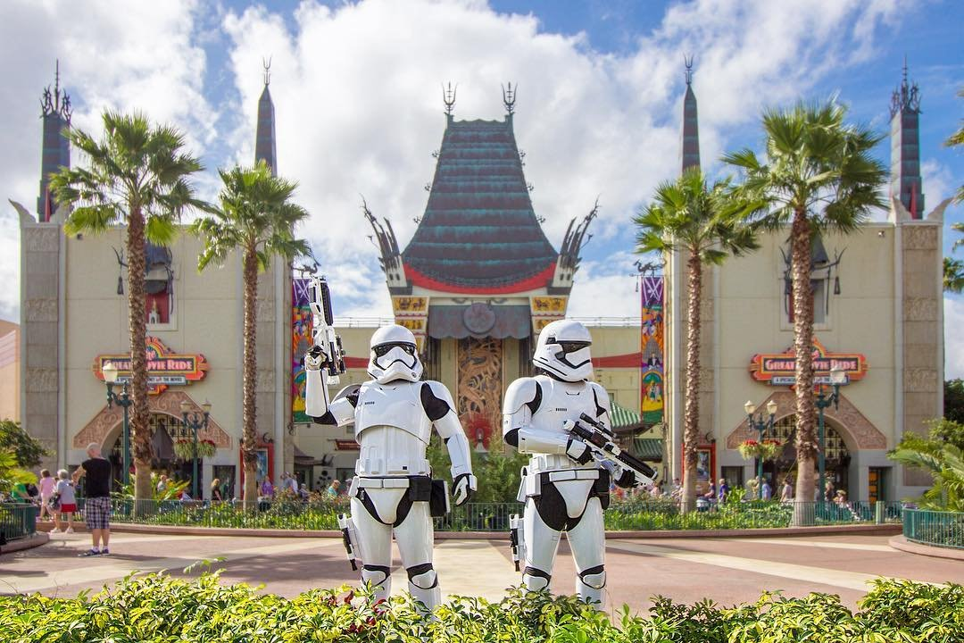 Star Wars Storm Troopers Pose outside Disney Hollywood Studios near Kissimmee, Florida