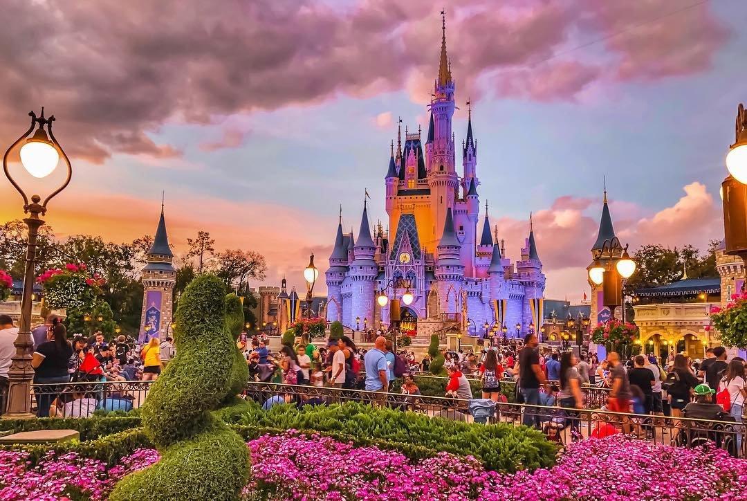 Cinderella Castle in the Magic Kingdom at golden hour