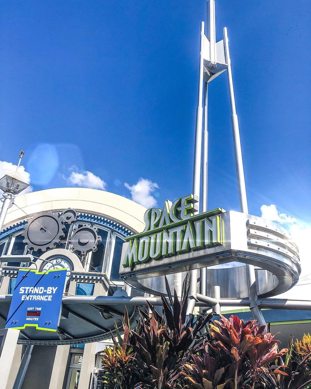 An exterior shot of Space Mountain