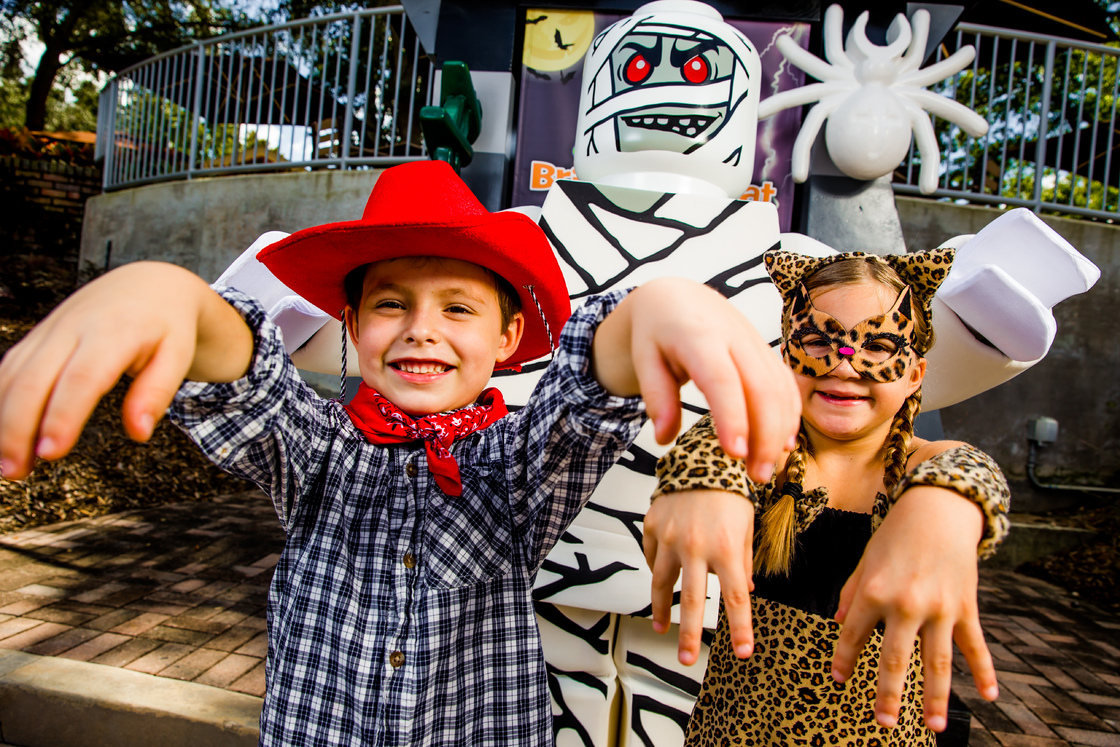 Kids play in their Halloween costumes at LEGOLAND