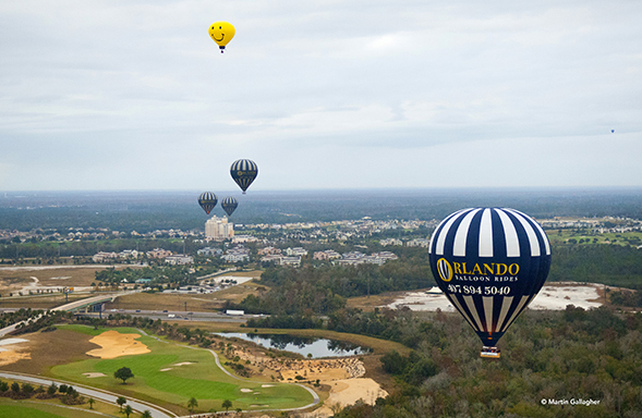 A hot air balloon will give you a very different view of Kissimmee!