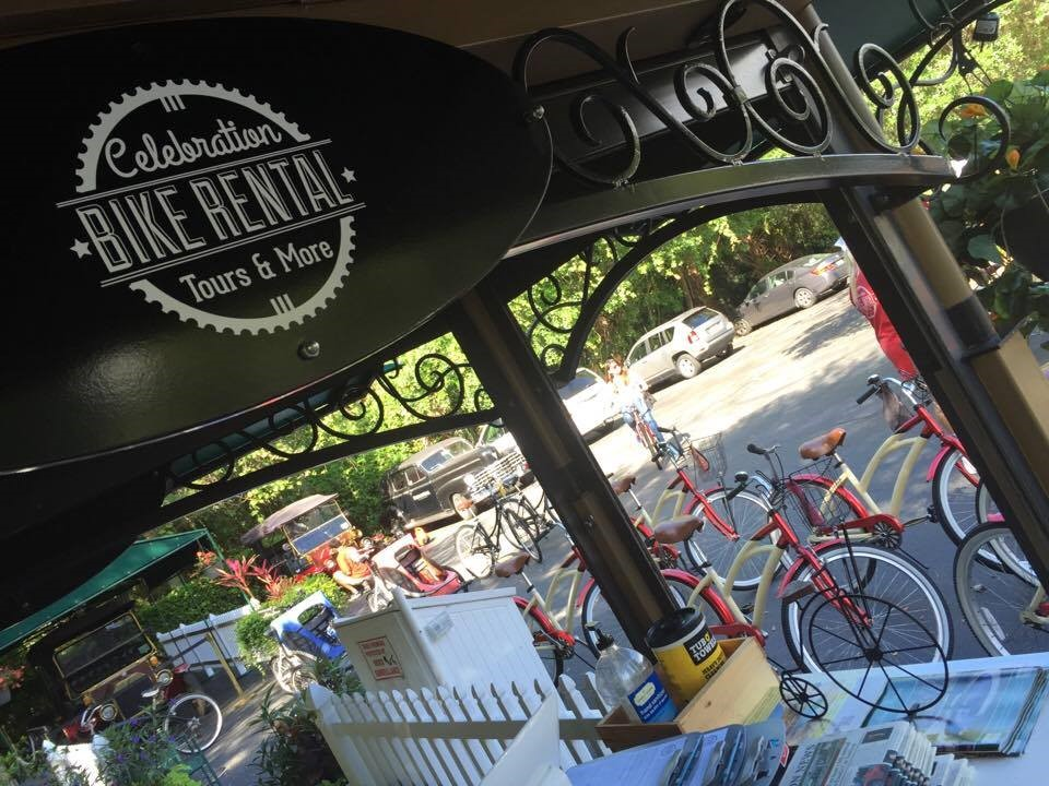Take a bike tour of Celebration, Florida.