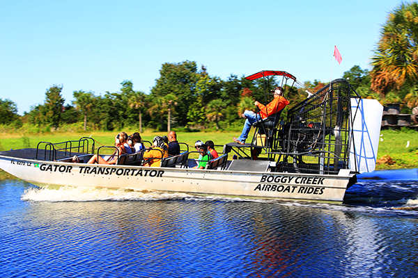 Boggy Creek Airboat Rides lets you experience Florida wetlands.