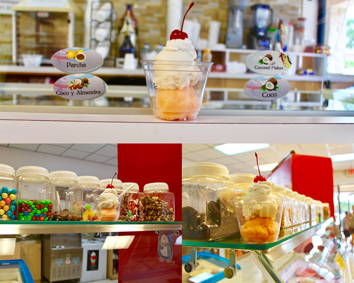 An ice cream sundae on top, bottom left is a row of jars of candy, and the bottom right is a sundae and row of candy.