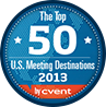 The Top 50 U.S. Meeting Destinations 2013 by Cvent logo with a blue background and red bottom.