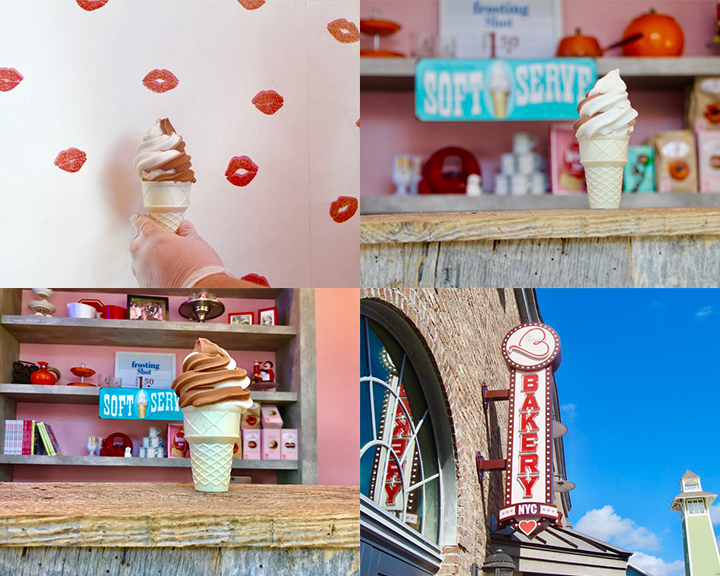 A collage of four photos with soft served ice cream in a cone and the last photo of Erin McKennas Bakery sign.