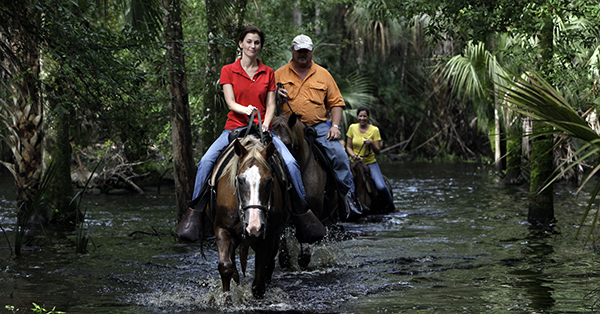 Forever Florida offers activities like horseback safaris through the Florida wilderness.