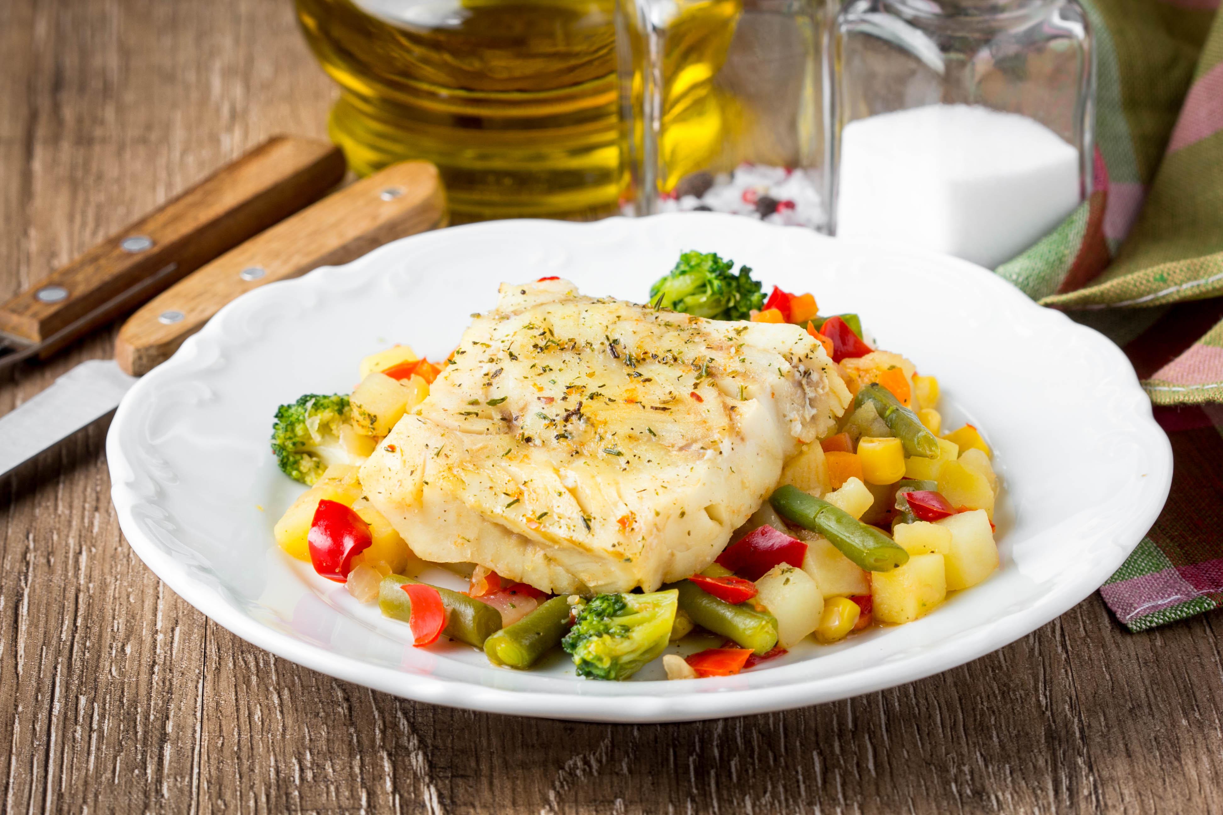 Cooked bass fish dish.
