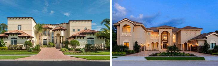 Kissimmee vacation homes, on the left is during the day and on the right is during the night.