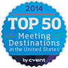 2014 Top 50 Meeting Destinations in the United States by Cvent logo with a blue background and purple bottom.