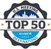 U.S. Meeting Destinations Top 50 logo with navy, light blue, and white colors.