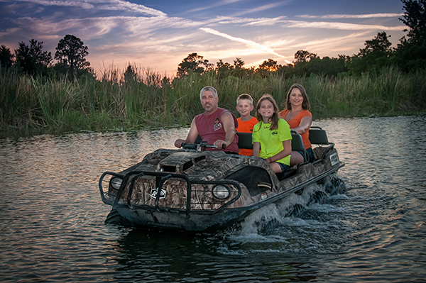 The Mucky Duck lets you drive on land and water.