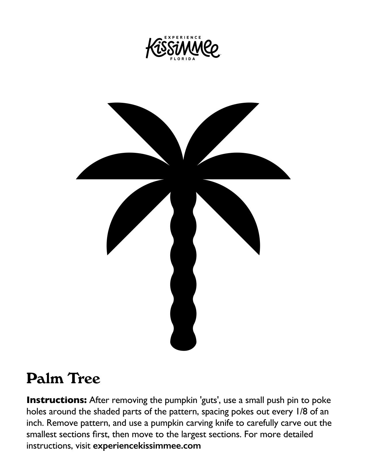 Palm Tree Jack-O-Lantern Template