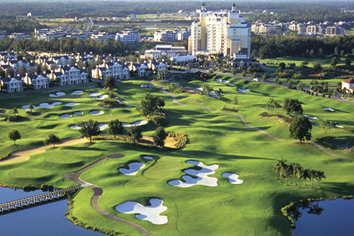 Aerial photo of a golf course and resort on a sunny day in Kissimmee, Florida.