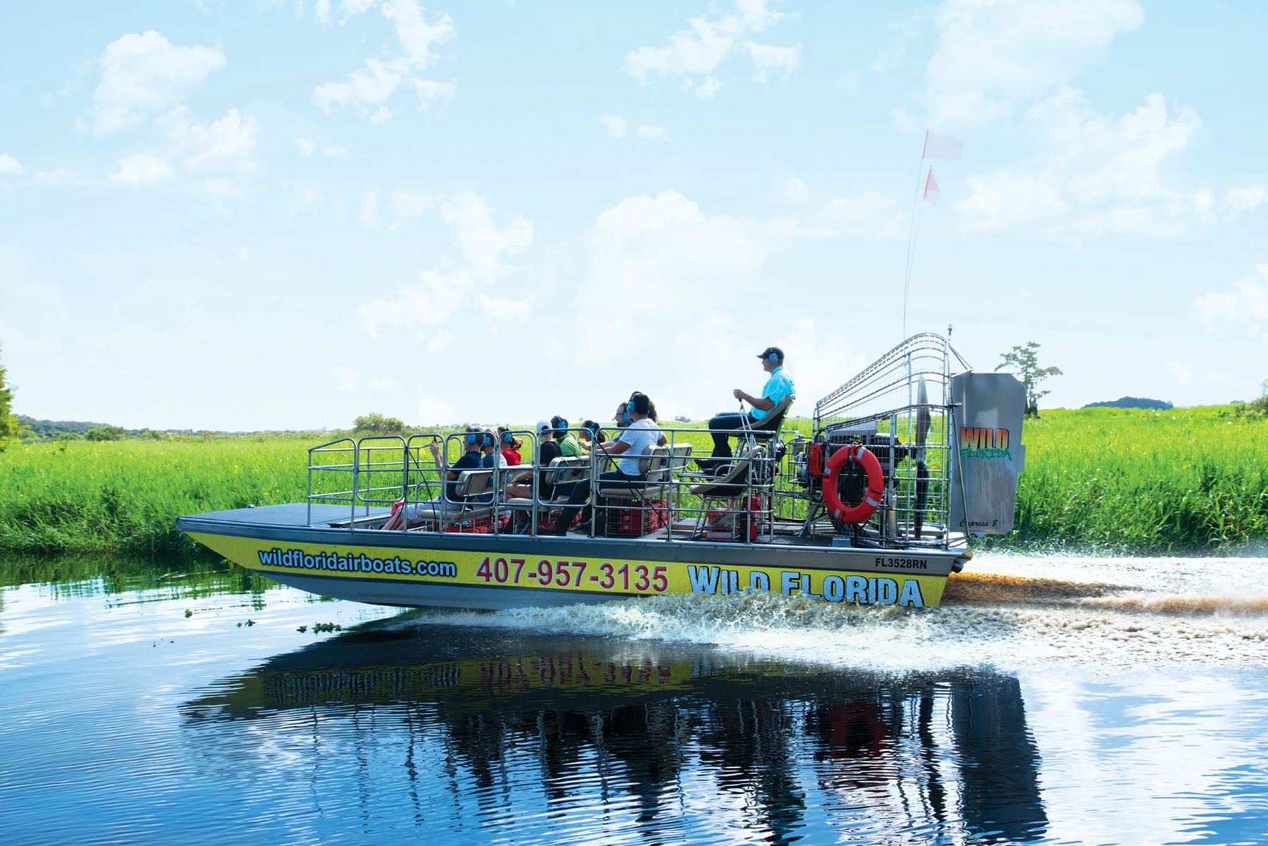 An airboat tours the waters at Wild Florida