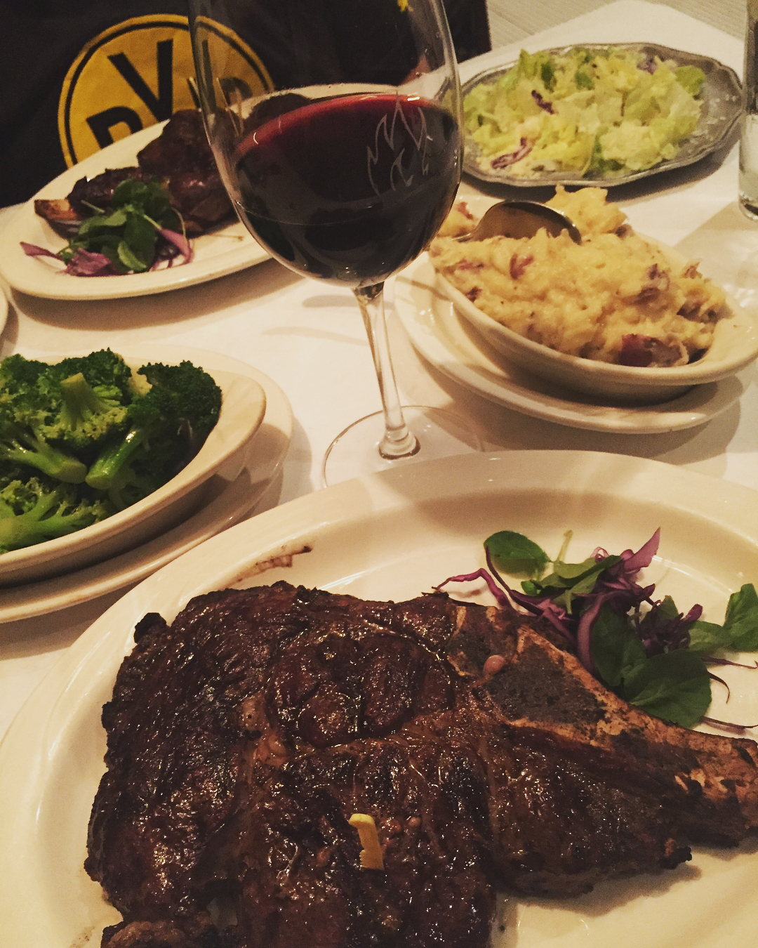 Steak and red wine at Charley's Steak House