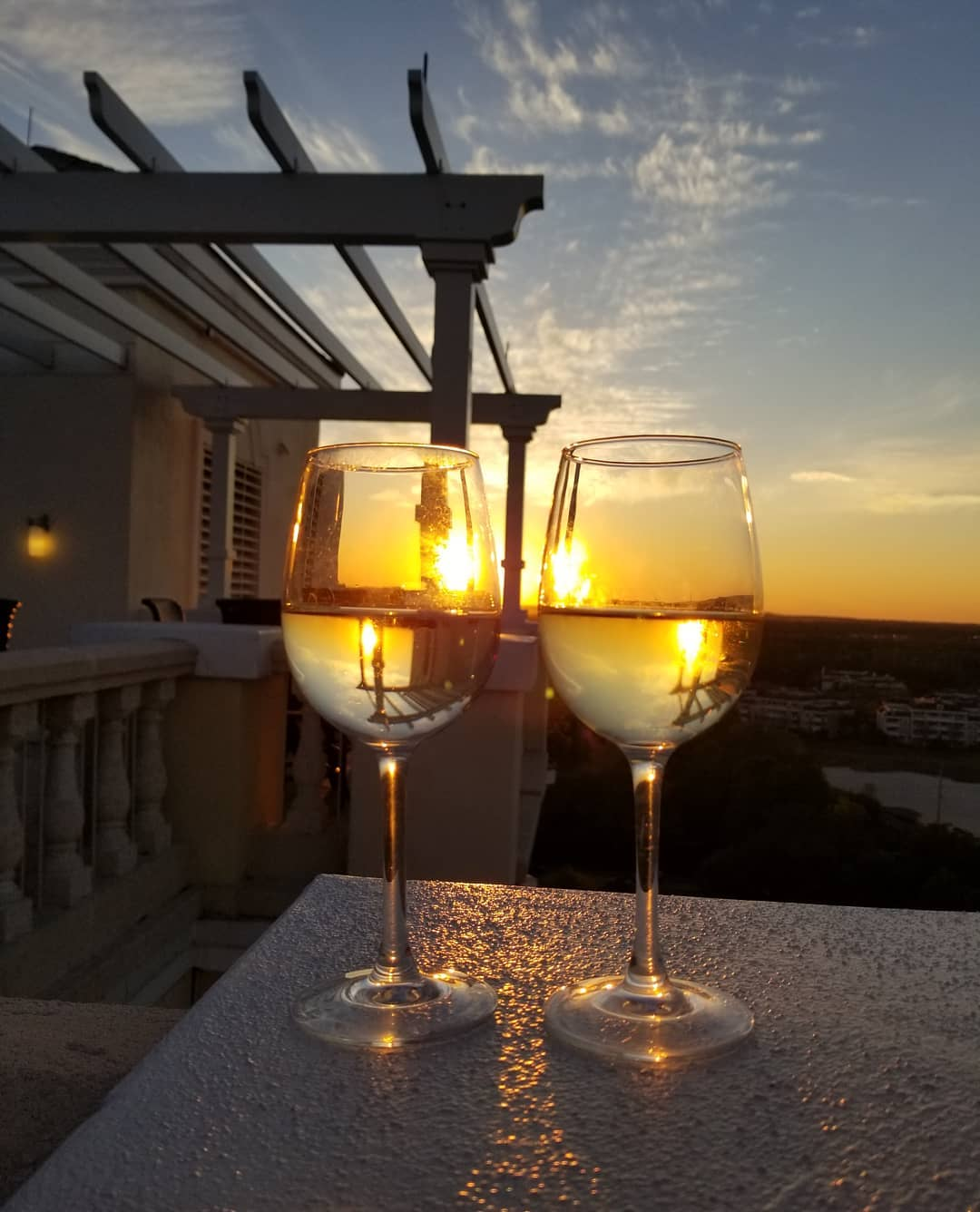 Two glasses of white wine at the Eleven Rooftop Bar in Florida