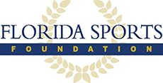 Florida Sports Foundation logo in navy font and a gold symbol in the background.