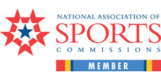 National Association of Sports Commissions Member logo in red and blue fonts.
