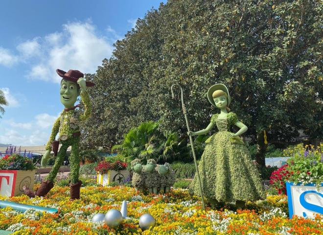 Displays of Woody and Bo Peep at the Epcot International Flower and Garden Festival