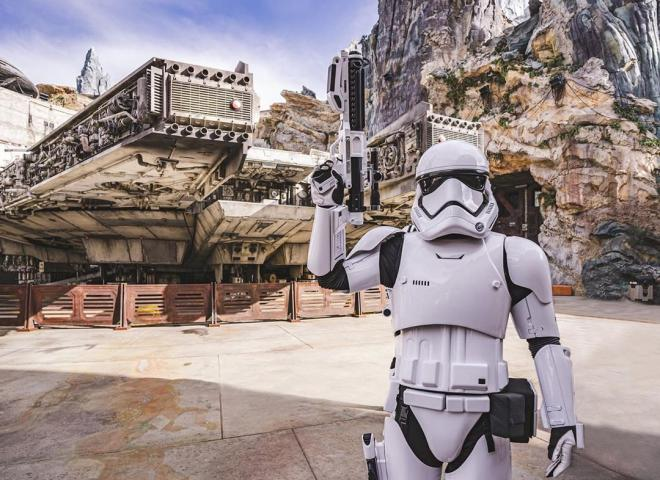 A Stormtrooper stands in Star Wars: Galaxy's Edge