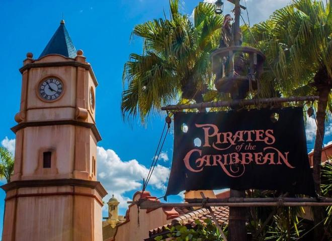 A sign outside Pirates of the Caribbean