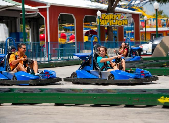 A family goes go-karting in Kissimmee