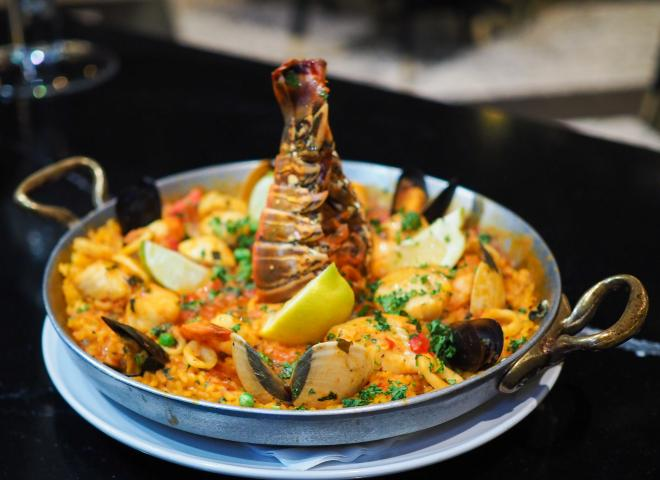 Dish of paella at Estefan restaurant in Kissimmee, Florida