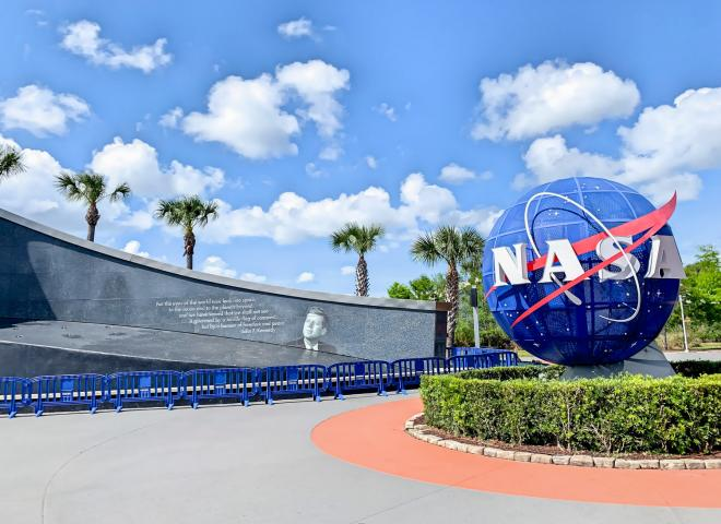 An exterior shot of the Kennedy Space Center