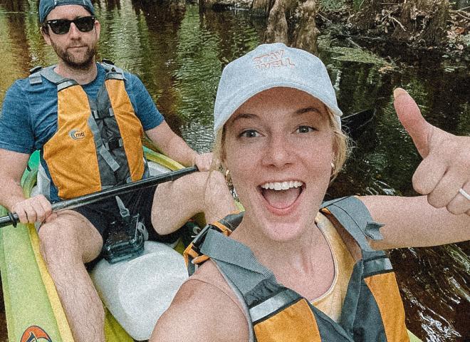 Angela Jones Kayaking with her husband