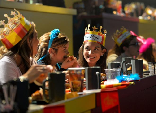 A family dines at Medieval Times Dinner and Tournament