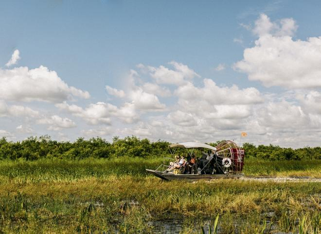 An airboat ride at Spirit of the Swamp