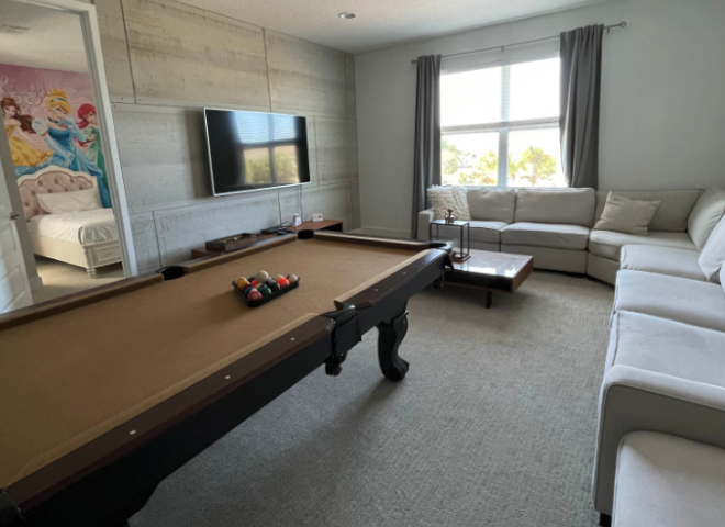 The game room at Dr. Laura's vacation home