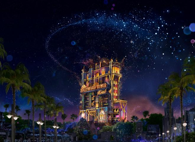 Tower of Terror rendering with glittery fireworks.