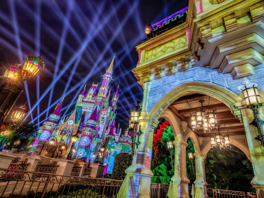 The Magic Kingdom lit up at night for the holiday season