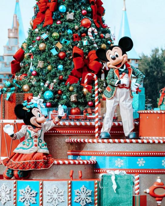 Mickey Mouse and Minnie Mouse perform at the Magic Kingdom near Kissimmee