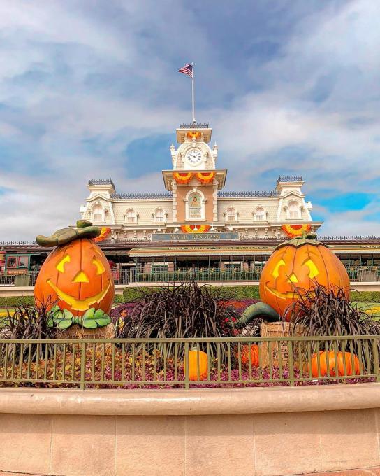 A Halloween display outside the Magic Kingdom