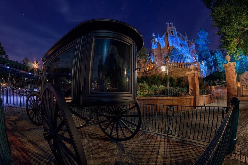 The Haunted Mansion at night