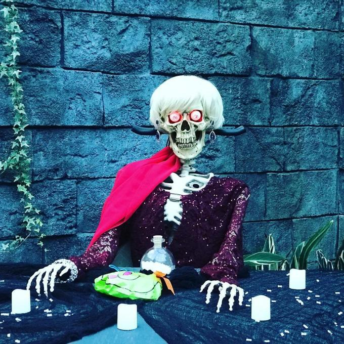 A Halloween decoration of a skeleton at Gaylord Palms