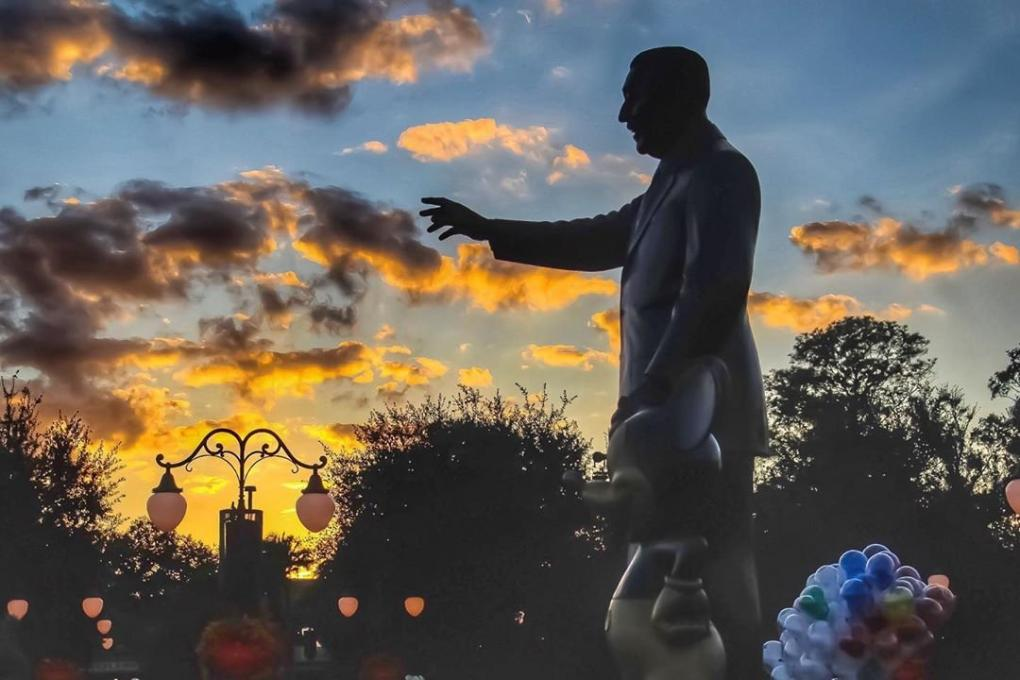 The Partners Statue in the Magic Kingdom at sunset