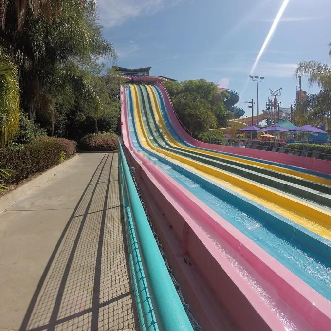A selection of colorful slides at Aquatica near Kissimmee