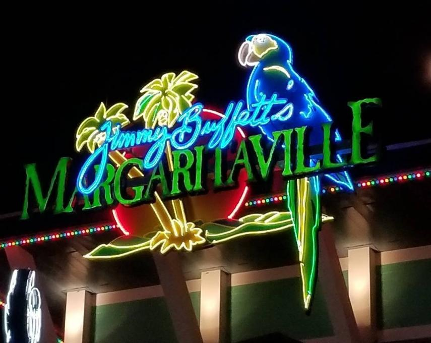 The illuminated sign at Margaritaville