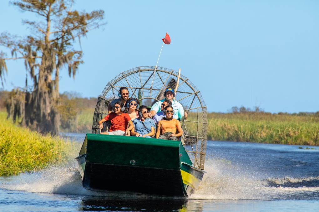 An airboat prepares to leave for a tour at Wild Florida