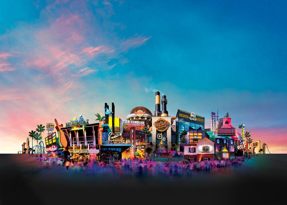 A stylized look at Universal CityWalk