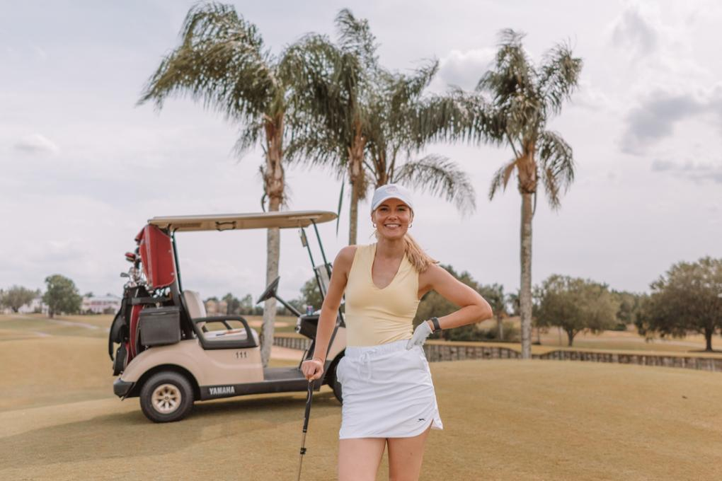 Angela Jones poses at the golf course