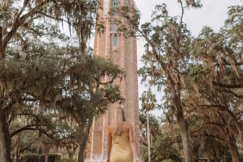 Angela Jones walks toward the Bok Tower