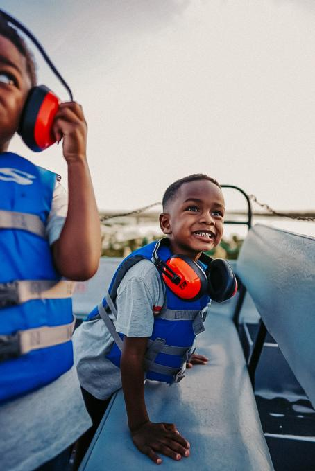 Two young boys on an air boat in Kissimmee